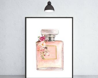 Chanel Mademoiselle perfume art print Chanel poster Chanel warecolor Chanel home decor Chanel wall decor Chanel painting Chanel perfume art