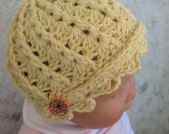 Crochet Pattern Infant-Toddler Spiral Ribbed Hat With Scalloped Brim ePattern EASY TO MAKE Resell finished