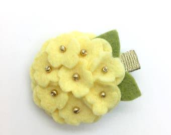 Yellow Hydrangea Hair Clip Felt Flower Hair Clip Girls Flower Hair Clip Spring Hair Clip