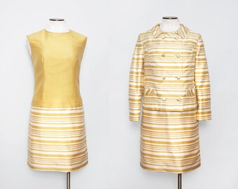 1960s Mod Suit / Vintage 60s Gold Striped Dress with Jacket / Large