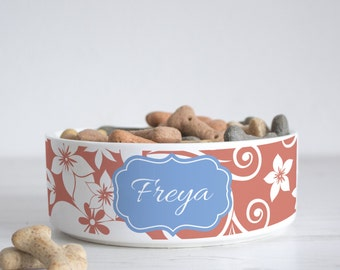 Floral Print Pet Bowl - Dog Bowl - Personalised dog bowl - custom cat bowl - ceramic dog bowl - personalized pets - pet gift - P13