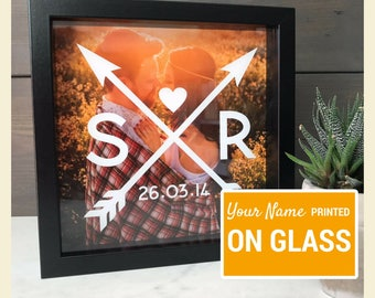 Personalised Box Photo Frame - Couple Initials Picture Frame Gift- Engagement Gift & Anniversary Gift - perfect New Home Housewarming gift