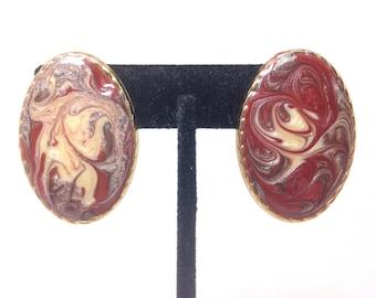 Vintage Estate Enamel Swirl Gorgeous Gold Tone Clip Earrings Christmas Present - Holiday Gift