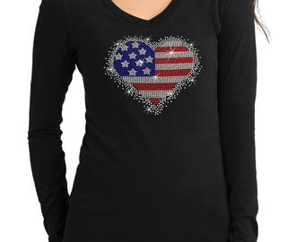 New Junior American Heart V-Neck long sleeve T-Shirt all size S-3XL