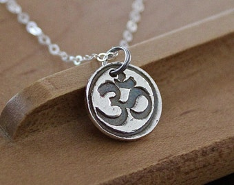 """Aum Silver Necklace - Om Pure Silver Charm - Yoga Meditation Necklace -16"""" Sterling Silver Chain Buddhism Hinduism Mantra Necklace - Dharmic"""