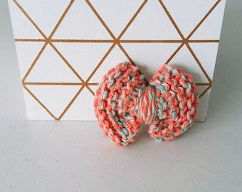 Brooch bow pink and green - cotton knit - Agathe and Ana