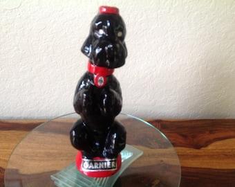 P. Garnier~France: Liqueur Decanter~ Black Ceramic French Poodle w/ Labels~ MCM