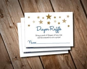 Digital Printable Twinkle Twinkle Little Star Baby Shower Diaper Raffle Cards