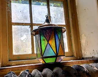 Abandoned House Art Photography Print Of Colorful Lantern