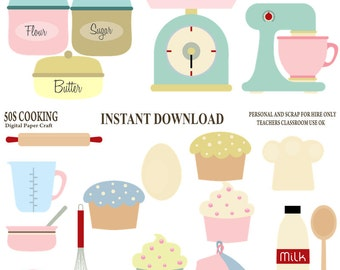 50's Cooking Clipart, Retro Cooking Clipart, 1950 Clipart, Kitchen Clipart, Instant Download, 50s clipart