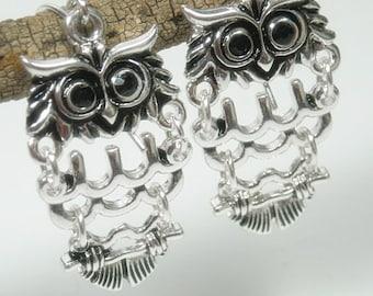 Sale  Owl Earrings - Hinged Owl Dangle Earrings - Metal Woodland Owl - Owl Jewelry - Bird Earrings - Symbolic Owl - Bird Jewelry