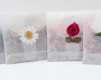 WEDDING FAVOR, Flower Toss Packet, set of 10, lavender, rose petals, herbs, flowers, for fairytale endings