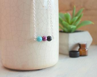 Lava Necklace, Essential Oil Necklace, Oil Diffuser Necklace, Diffuser Necklace, Lava Stone Necklace, Lava Rock Necklace, Turquoise