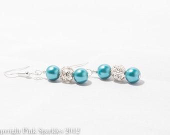 Teal Pearl, Rhinestone Earrings