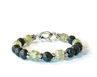 Aromatherapy Diffusing Bracelet, Natural Lava Stones, Czech Glass, and Antique Silver, Essential Oil Jewelry