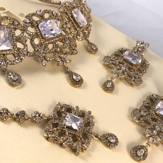 Victoria Antique gold zirconia necklace earrings and tikka set