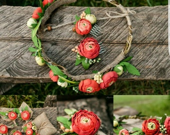 buttercup wreath, buttercup comb, buttercup brooch, groom buttercup, orange wreath, bridesmaids comb, buttercup wedding, gift for girl