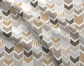 Brown Gray Fabric - Gray Tan Chevron By Mrshervi - Gray Cotton Fabric By The Yard With Spoonflower