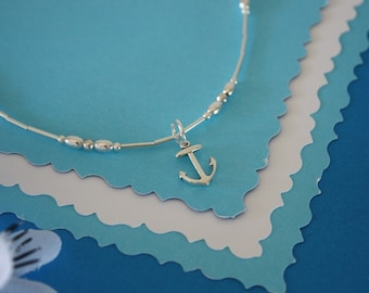 Anchor Anklet Silver Charm, Charm Anklet, Sterling Silver, Choose your Charm Anklet, Navy Wife, Nautical, Ocean, USN, Beach, Vacation