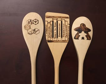Board Game Inspired Woodburned Spoons