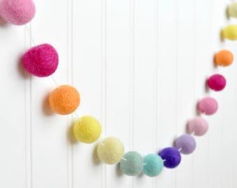 Rainbow Garland, Rainbow Birthday Banner, Rainbow Felt Ball Garland, Pom Pom Garland, Rainbow Birthday Party, Rainbow Nursery Decor, Baby