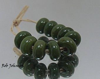 Winter Olive, Artisan Lampwork Glass Beads, SRA, UK