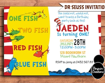 DR SEUSS Birthday Invitation. Dr Seuss Birthday Party. Dr Seuss Fishes. Baby Shower. Party Supplies