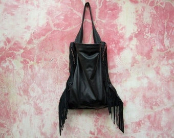 Black Leather Fringe Tote Bag, Black Leather Boho Tote, Slouchy Black Leather Tote With Fringes