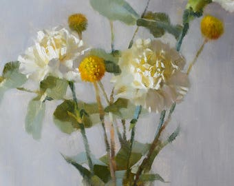 Carnations, Eucalyptus and Crespedia - original oil painting, alla prima oil painting, one of a kind