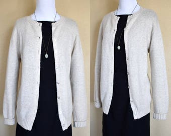 Cream Wool Cardigan / Wool Sweater / Vintage Wool Sweater / Vintage Wool Cardigan / 1960s Cardigan / 60s Cardigan / Small Medium