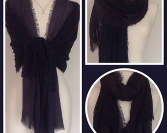 Navy Vintage Style Lace Design Wrap Shawl Weddings, Gift Idea