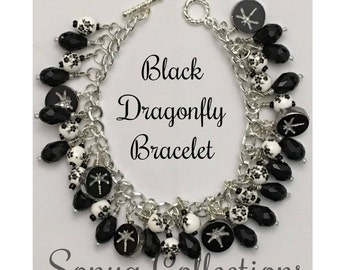 Black Dragonfly Bead Bracelet