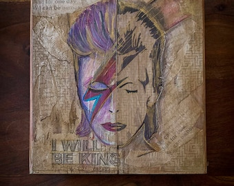 Artistic paint of  David Bowie  on recycled wood