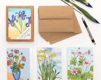 Floral notecard set - box of 8 cards with kraft envelopes
