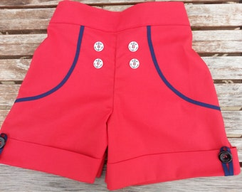 Girls Red with Navy Trim Sailor Shorts