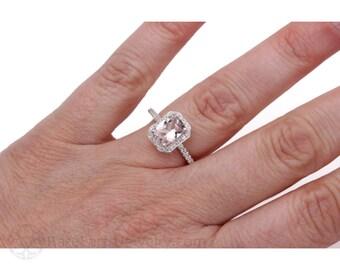 Morganite Engagement Ring Diamond Halo Cushion Morganite Ring 14K or 18K Gold Gemstone Ring