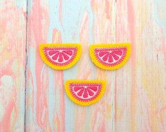 Lemon feltie - Lemon slice feltie - Lemon felt bow - Pink lemon feltie - Pink lemon felt - Pink lemonade feltie - Half lemon feltie - Lemon