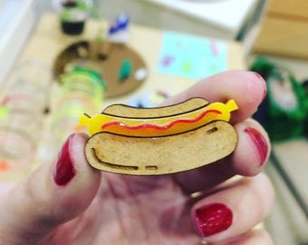 Brooch dog brooch jewelry hot food hot dog, unisex gift, jewelry brooch, gift for coworker, secret santa, Valentine's day