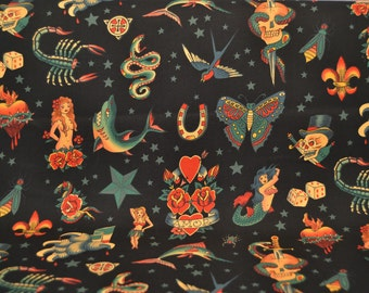 Tattoo Print Cotton Fabric Black - Alexander Henry - Traditional Vintage Tattoos