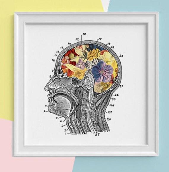 Flowery Brain Print, wall art Human anatomy print Science student gift Human skull art print Anatomy and flowers SKA053SQ1