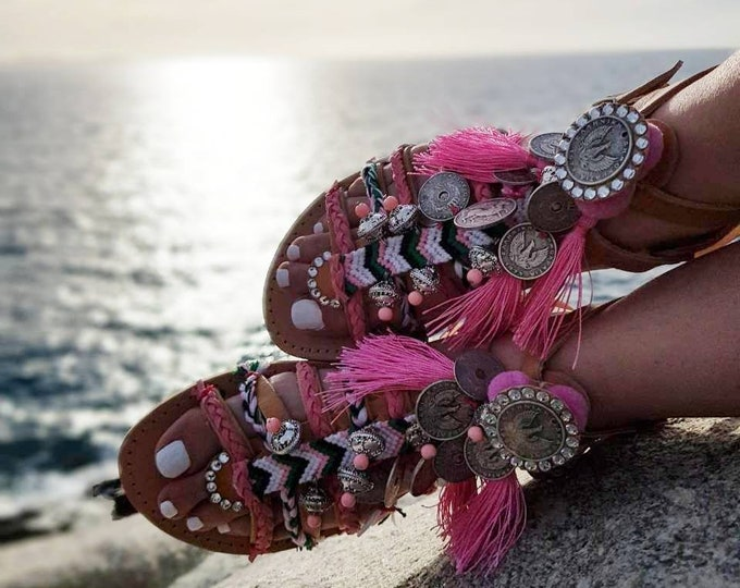 DHL FREE Greek sandals/gladiator sandals/strappy sandals/luxury sandals/crystals sandals/boho sandals/ethnic sandals/Handmade/women shoes