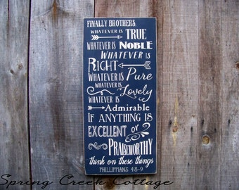 Handpainted Signs, ScriptureSigns, Word Art, Philippians 4:8-9, Rustic Signs, Wood Signs, Inspirational Sayings, Typography, Religious Gifts