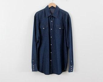 vintage men's denim shirt,  XL Wrangler snap up shirt