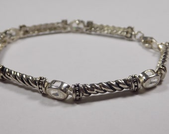 Sterling silver 8 inch bracelet with CZ stones