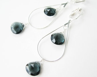 Dark Blue Clip-on Earrings, Large Silver Teardrop Dangle Clips, Navy Blue Faceted Teardrop Stone Long Clipons for Non Pierced Ears, Theresa