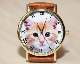 Wrist watch red cat, cat watch, women's watch, men's watch, watch for cat lover, watch for birthday, red wrist watch, unique watches