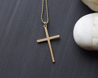 RISEN CROSS NECKLACE, Gold Necklace Simple Cross Necklace Godmother Gift Baptism Gift Christian Jewelry