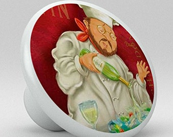 Wine Chef Pouring Champagne Ceramic Knob for Drawers, Cabinets, Kitchen, Bar
