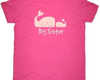 Big Sister Shirt - Big Sister Present - 8 Colors - Big Sister Whale & Little Sister Whale T Shirt - Gift Friendly Sizes 2T, 4T, 6, 8, 10, 12