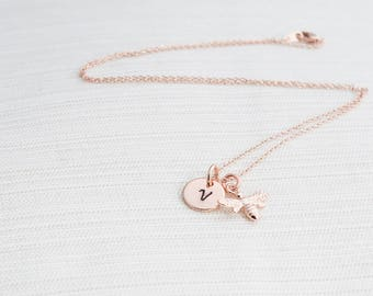Personalized Bee Necklace in Rose Gold, Initial Necklace, Bee Necklace, Bee Jewellery, Bridesmaid Gift, gift for her